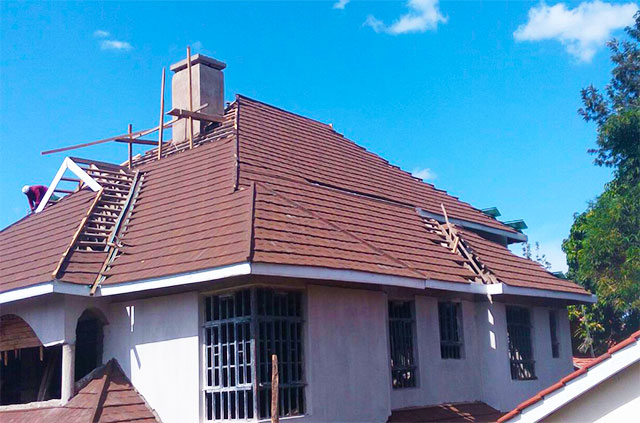 Tiles Roofing Tiles Kenya Brown Classical Tiles Installation2